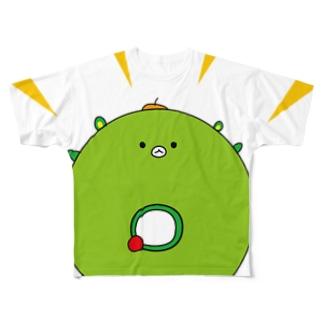 太陽イメージで、イッちゃんこと大崎一番太郎くんを描きましたが、犬山パッパがドーナツと言ってくださったので、これはもう大崎ドーナツ太郎です★ Full graphic T-shirts