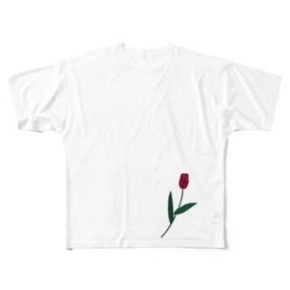 一輪のチューリップ🌷カラー Full graphic T-shirts