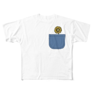 心に花を💐ポケット&フラワー Full graphic T-shirts