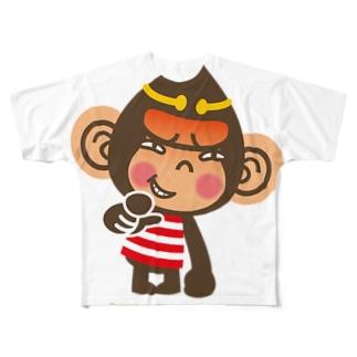 """ドングリ頭のチンパンジー""""失笑"""" Full graphic T-shirts"""