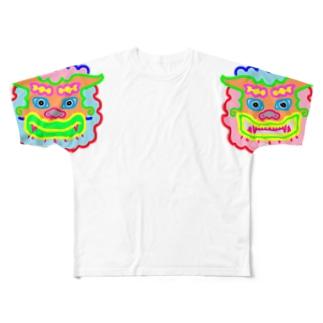 カラフル狛犬 Full graphic T-shirts