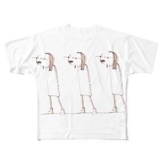 お散歩するムミィさん Full graphic T-shirts