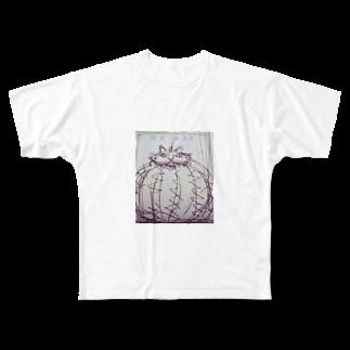 鸚哥館のNo war サボテン猫 Full graphic T-shirts