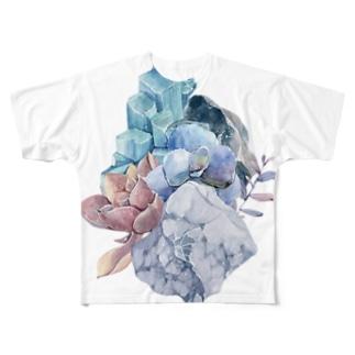 天然石と多肉植物の生け花。 Full graphic T-shirts