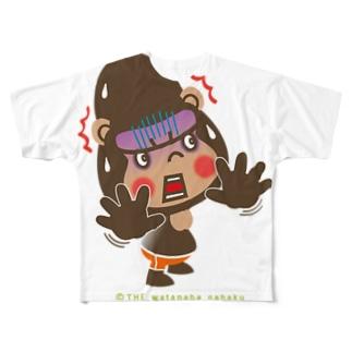 """ザ・ワタナバッフルのぽっこりゴリラ""""ビックリ"""" Full graphic T-shirts"""