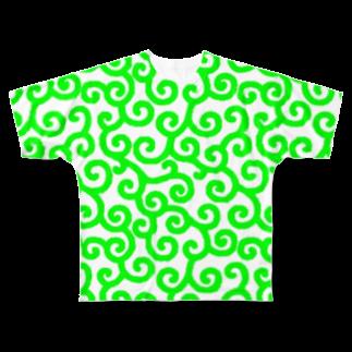 ★がらがら別館★の★唐草★黄緑★白地★ Full graphic T-shirts