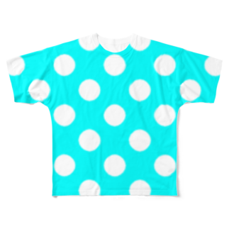 ★がらがら別館★の★水玉★水色★ Full graphic T-shirts