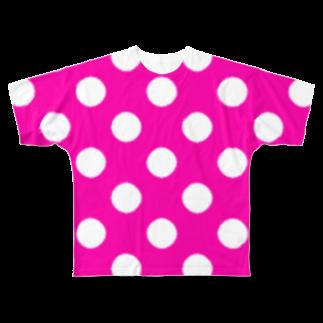 ★がらがら別館★の★水玉★ピンク★ Full graphic T-shirts