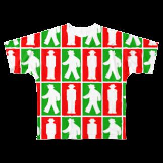 ★がらがら別館★の★歩行者信号機★四角★ Full graphic T-shirts