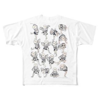 北斎漫画シリーズ1 Full graphic T-shirts