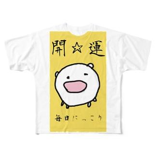 開☆運ねこさまです Full graphic T-shirts