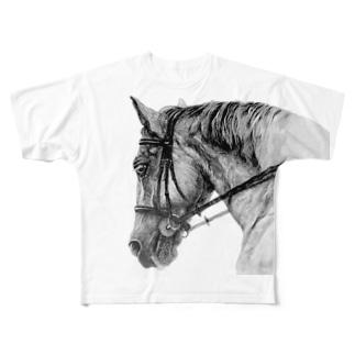 馬の絵の画家 斉藤いつみのがんばる馬Tシャツ(ブラック)  Full graphic T-shirts