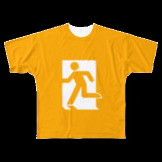 ★がらがら別館★の★非常口★オレンジ★ Full graphic T-shirts