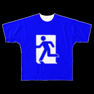 ★がらがら別館★の★非常口★青★ Full graphic T-shirts