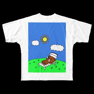 赤澤 将吾のクマ吉くんの日向ぼっこ Full graphic T-shirts