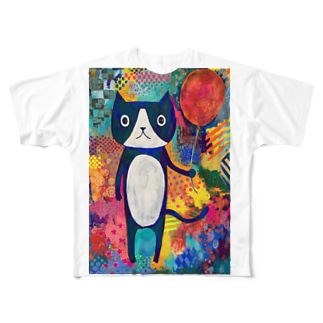 風船とネコ Full graphic T-shirts