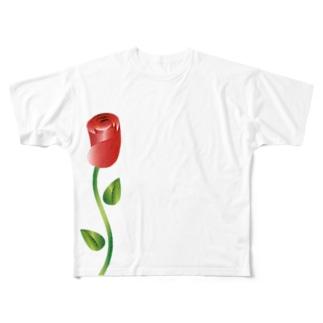 赤い花 Full graphic T-shirts