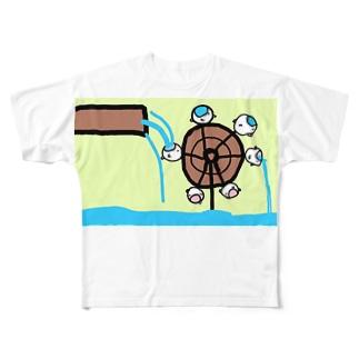 水車として手伝うねこたちです Full graphic T-shirts