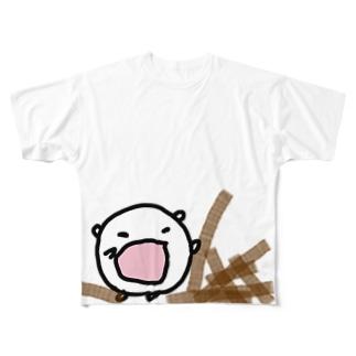 つまずいてゴボウをぶちまけるねこです Full graphic T-shirts