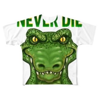 絶対に死なないワニ Full graphic T-shirts