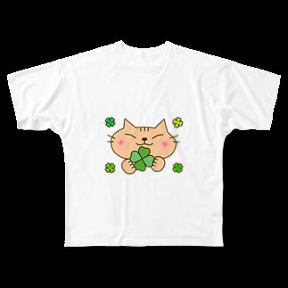 eigoyaのクローバーと茶トラ猫 Full graphic T-shirts