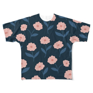 モダンなフラット花 DARK。 Full graphic T-shirts