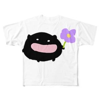 近所のくろちゃん Full graphic T-shirts