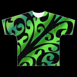 天獄堂のTile02 Full graphic T-shirts
