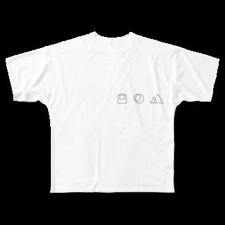 みずかわ よしふみの□と○と△ Full graphic T-shirts