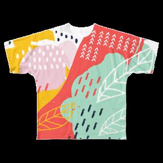 SANKAKU DESIGN STOREの南国fruitsモダンアート。 Full graphic T-shirts