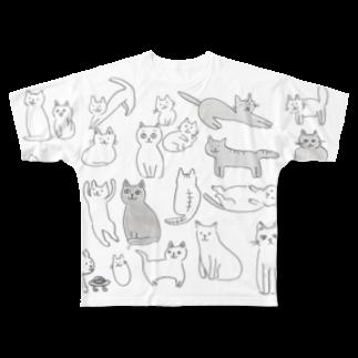 ginganoyoruのネコいっぱい Full graphic T-shirts