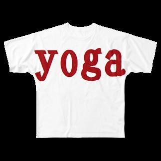 アメリカンベースのヨガ Full graphic T-shirts
