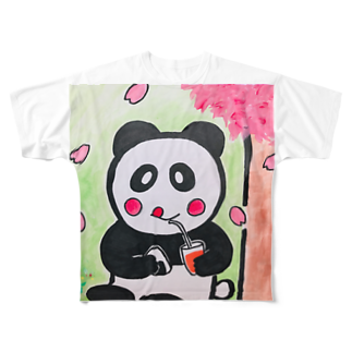 ル.ボヌールのお花見パンダちゃん Full graphic T-shirts
