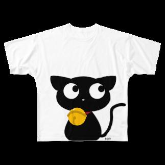 トロワ イラスト&写真館の可愛い黒猫ちゃん Full graphic T-shirts