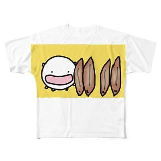うなぎの蒲焼きを立てまくるねこです Full graphic T-shirts