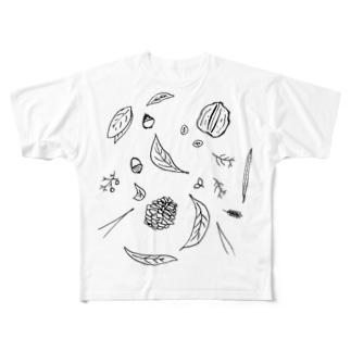 森の調べ モノクロ Full graphic T-shirts