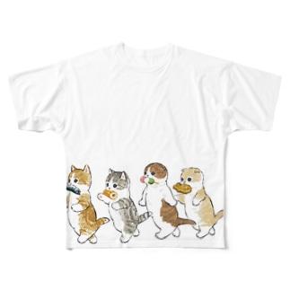 花より団子にゃん Full graphic T-shirts