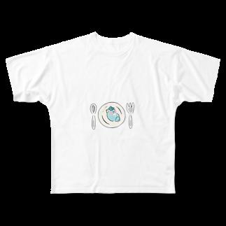 じんねこショップの皿の上のじんねこ Full graphic T-shirts