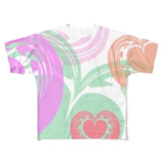 【ラテアート】カラフルハート Full graphic T-shirts