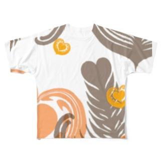 【ラテアート】レイヤーラテアート/オレンジブラウン Full graphic T-shirts