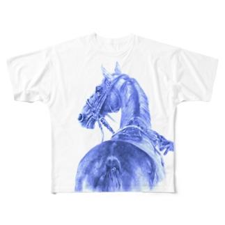 サラブレッドの肖像Tシャツ Full graphic T-shirts