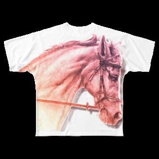 馬の絵の画家 斉藤いつみのサラブレッドの横顔 Full graphic T-shirts