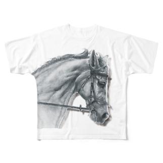 サラブレッドの横顔1(グレー) Full graphic T-shirts