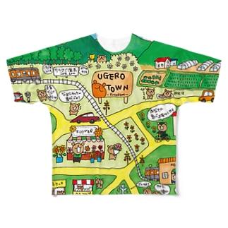 ウゲロくまの町【ウゲロタウン】 Full graphic T-shirts