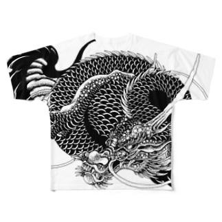 龍と巴 Full graphic T-shirts