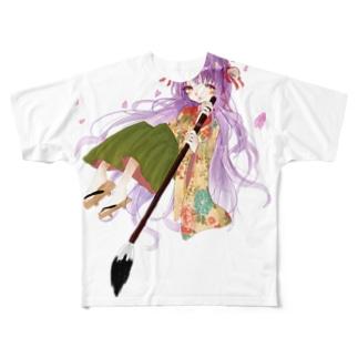 ふわふわのkimono Full graphic T-shirts