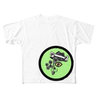 peacefulのネコ Full graphic T-shirts