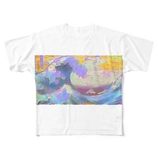 インスタ映えを意識しすぎた葛飾北斎 Full graphic T-shirts