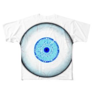 浮遊目玉(青) Full graphic T-shirts