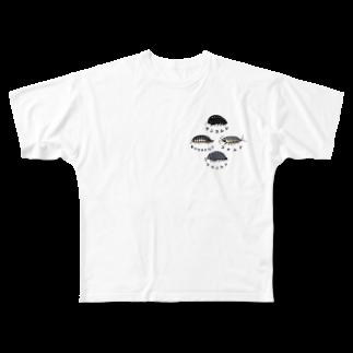 虫とか屋の虫たち 前後 Full graphic T-shirts